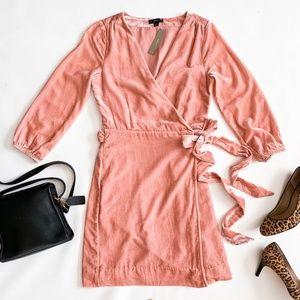 NWT J.Crew Blush Pink Velvet Wrap Dress Size 0